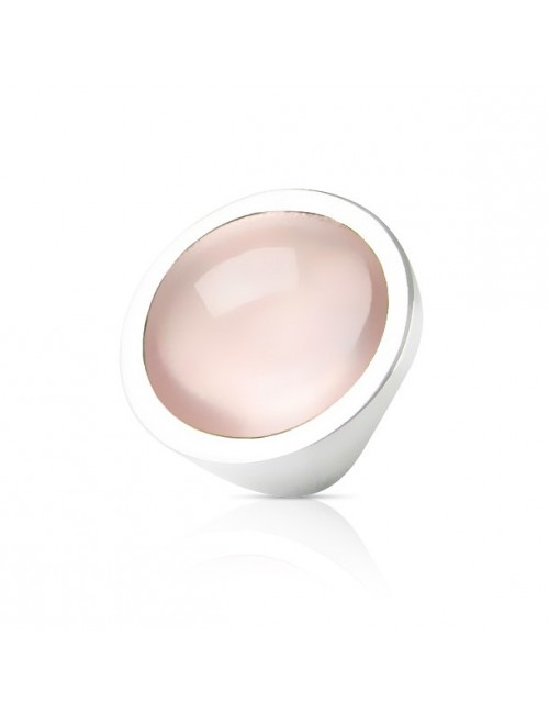 Bague quartz rose argent femme