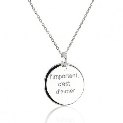 Necklace round medal personalized woman