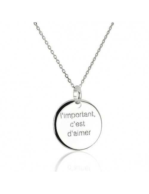 Collier médaille rond personnalisé femme