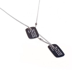 Military necklace child personalized silver plate
