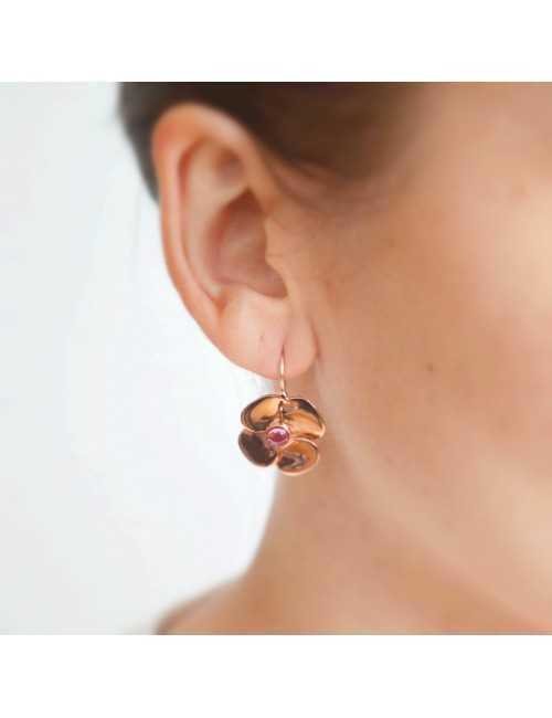 Boucles oreilles fleur tourmaline
