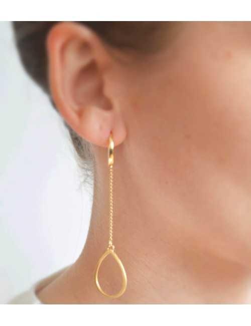Boucles oreilles longues goutte