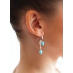 Boucles oreilles longues turquoise