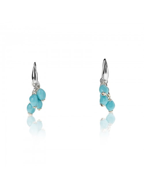 Hanging turquoise cluster earrings