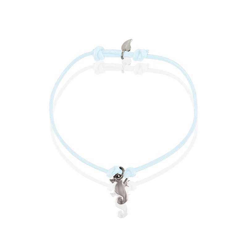 Silver seahorse bracelet man