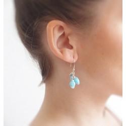 Boucles d'oreilles grappe turquoise