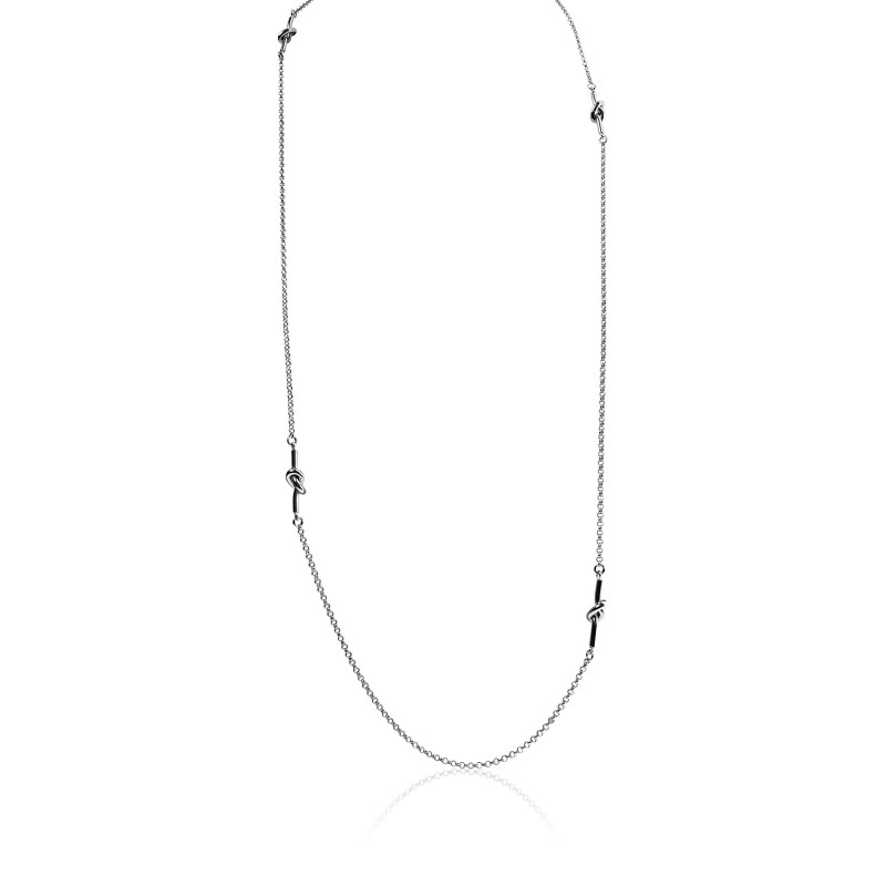 Long necklace silver knots woman