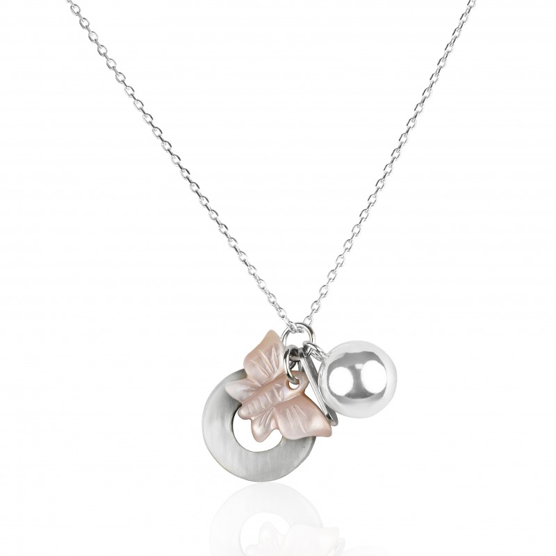 Collier argent multi papillon
