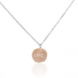 Collier boule de quartz rose