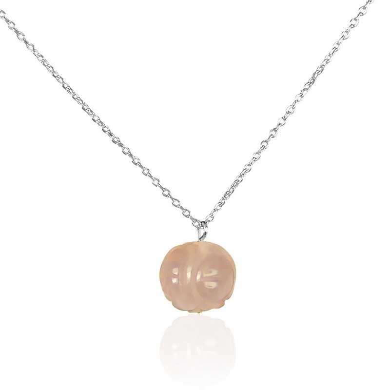 Collier boule de quartz rose