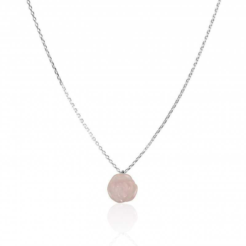 Collier argent fleur rose