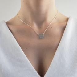 Collier carré argent personnalisé femme