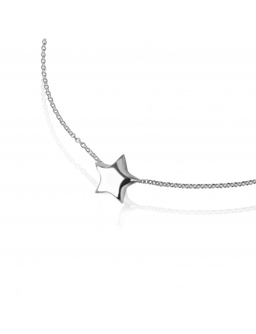 Silver star necklace woman
