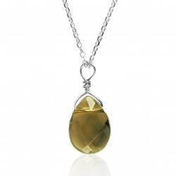 Silver necklace drop smoky quartz