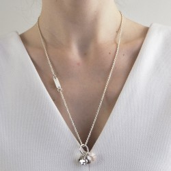 Silver clover necklace personalized woman