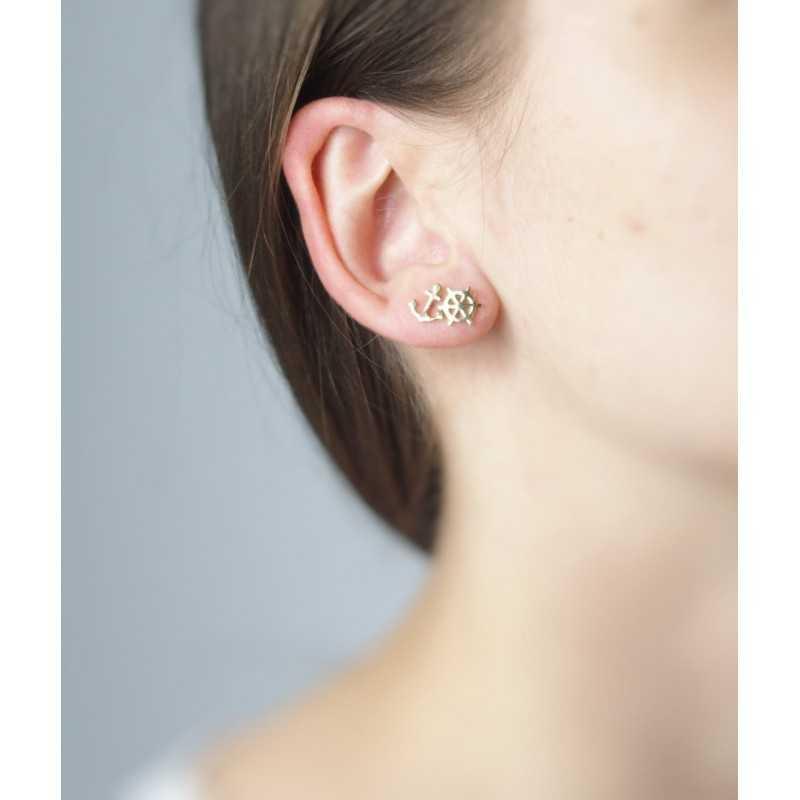 Boucles d'oreilles gouvernail & ancre - plaqué or jaune