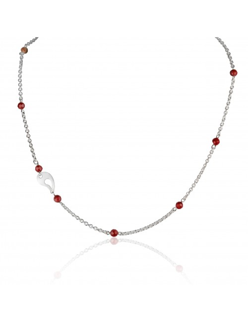 Silver coral necklace woman