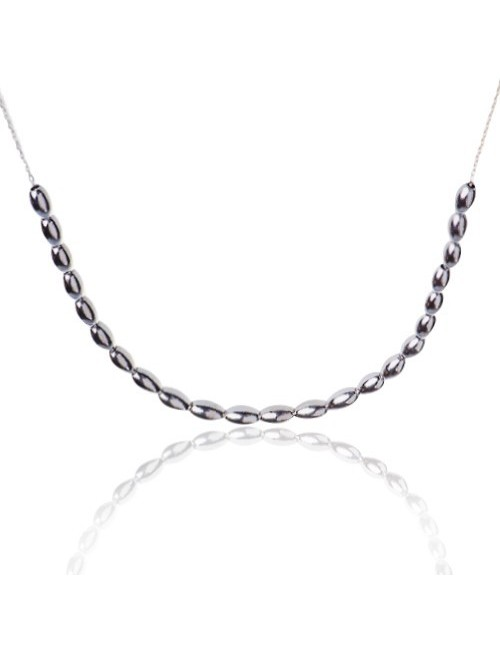 Silver pearls necklace woman
