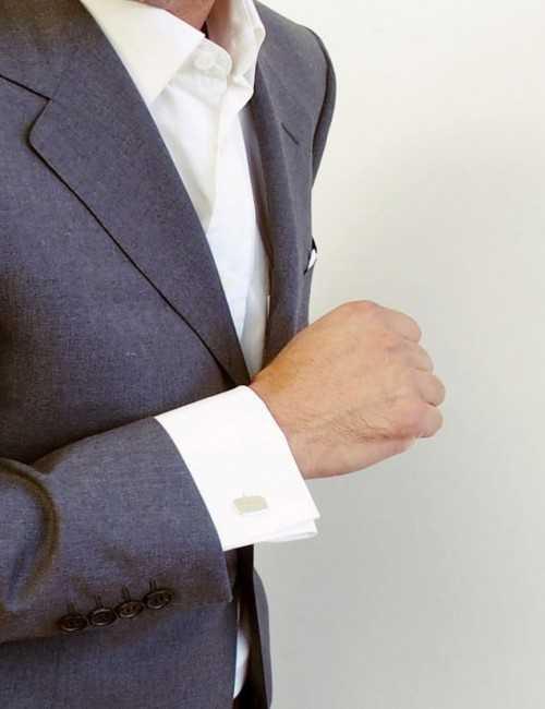 Cufflink rectangular cufflink silver personalized man