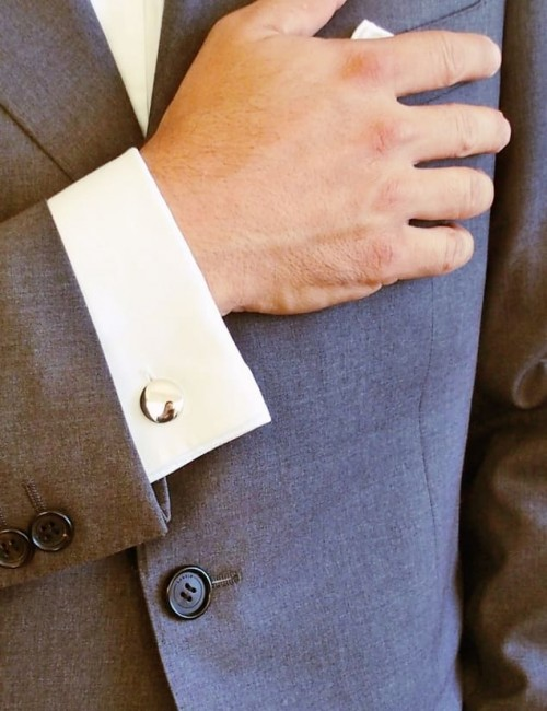 Round cuff link personalized man
