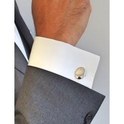 Mannen aangepaste ovale zilveren manchetknopen