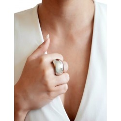 Wide domed silver ring woman
