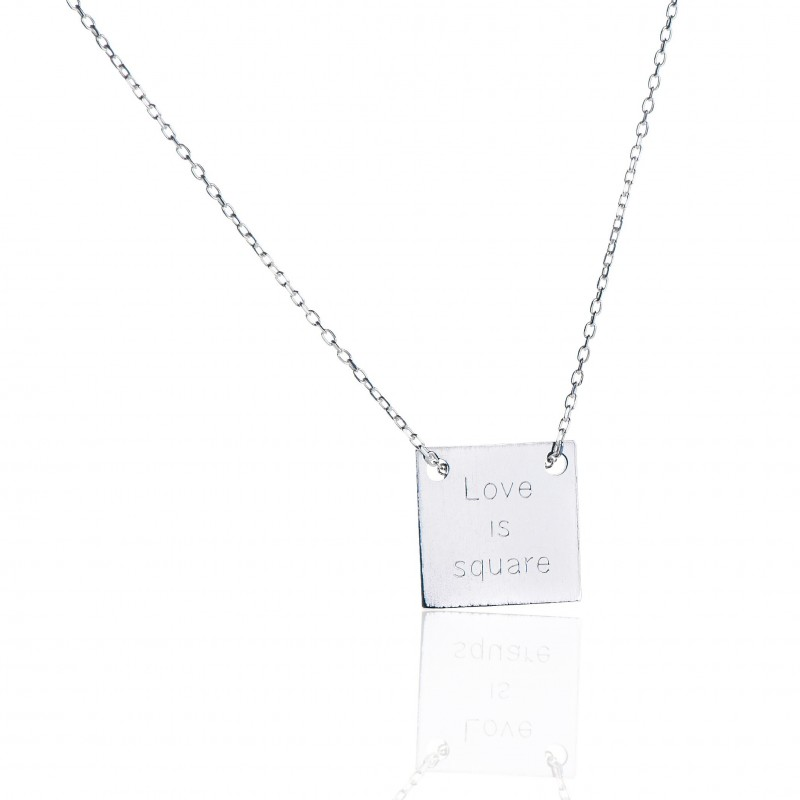 Necklace square silver personalized woman