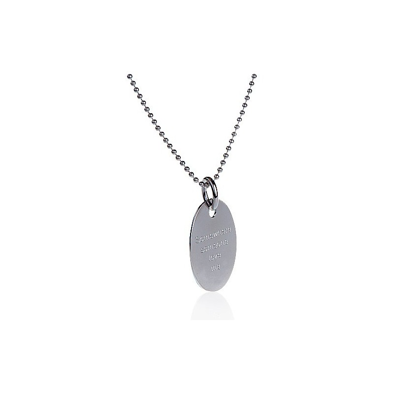 Necklace silver medallion oval personalized man