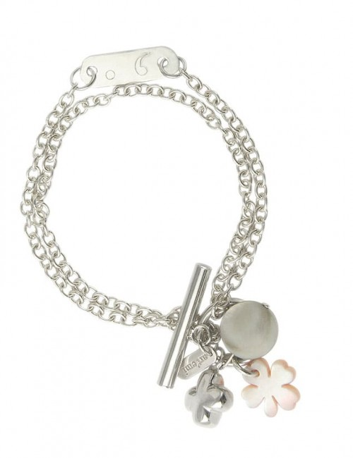 Silver mother-of-pearl clover bracelet personalized woman