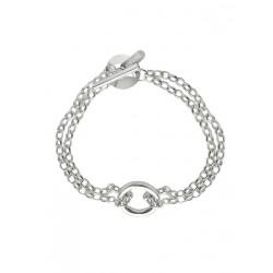 Double silver bracelet woman