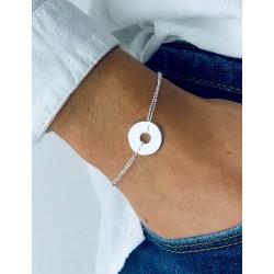 Bracelet cible argent personnalisé femme