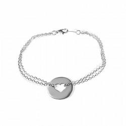Bracelet cible cœur argent à graver femme
