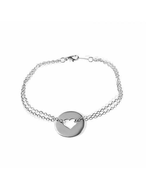 Silver heart target bracelet to engrave woman