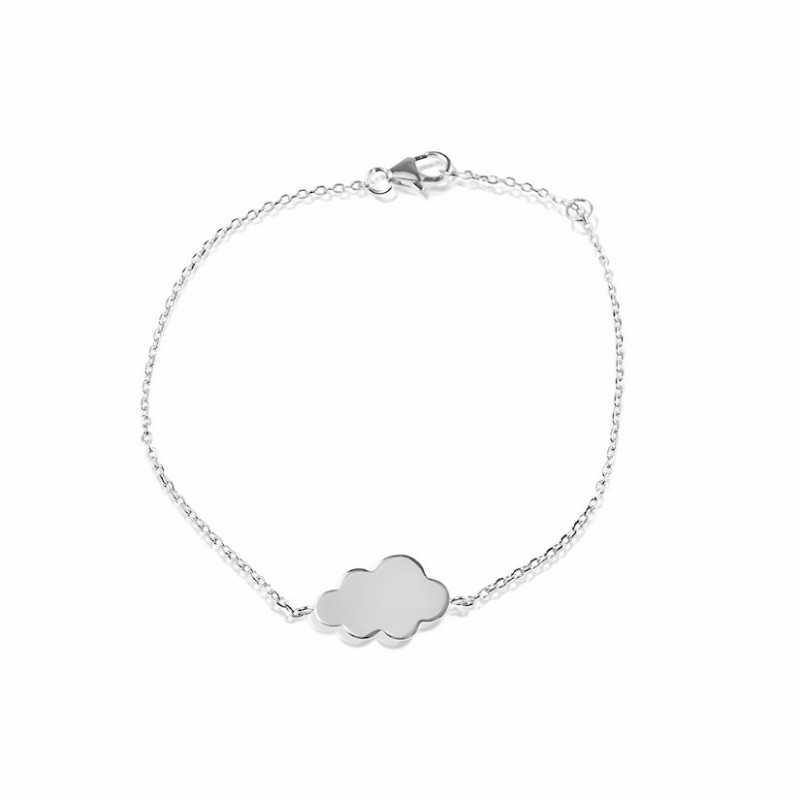 Cloud silver bracelet to engrave woman