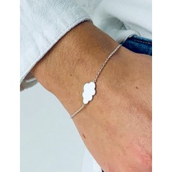 Cloud silver bracelet to engrave woman