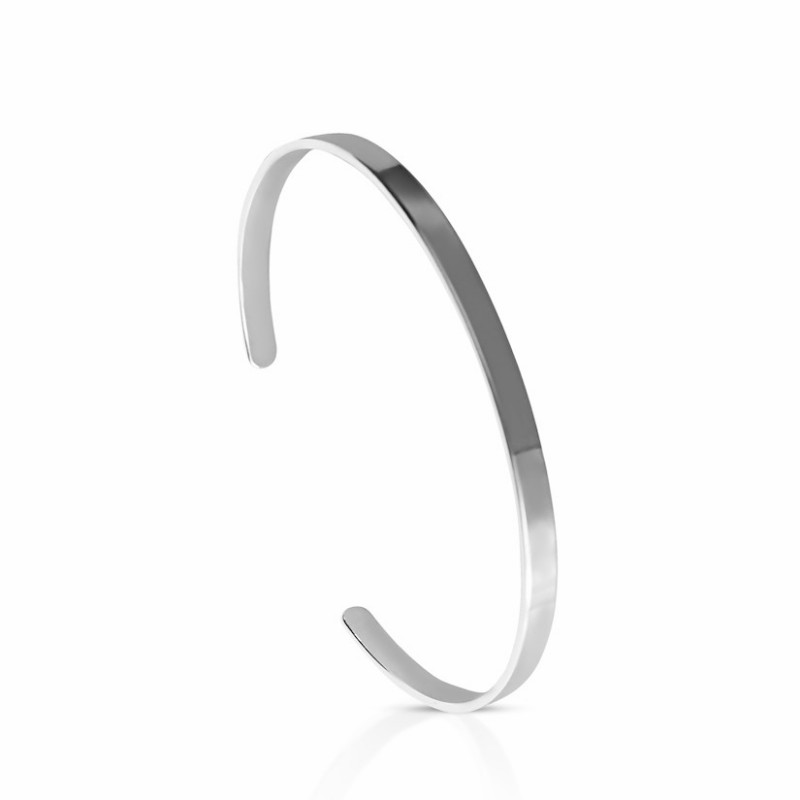 Open bangle silver bracelet to engrave woman