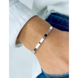 Open bangle silver bracelet to engrave woman