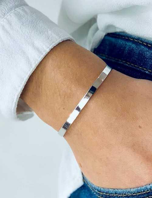 Bracelet jonc ouvert argent à graver femme