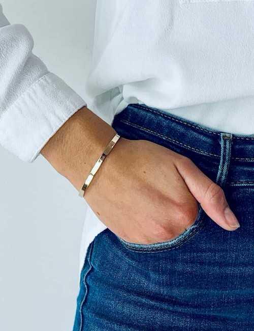 Bracelet jonc ouvert vermeil à graver femme