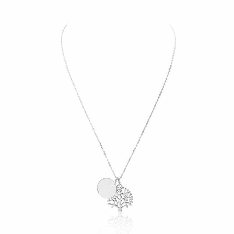 Collier médaille arbre de vie personnalisable femme 15 mm