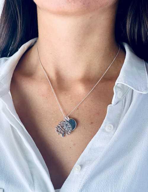 Collier médaille arbre de vie personnalisable femme 15mm