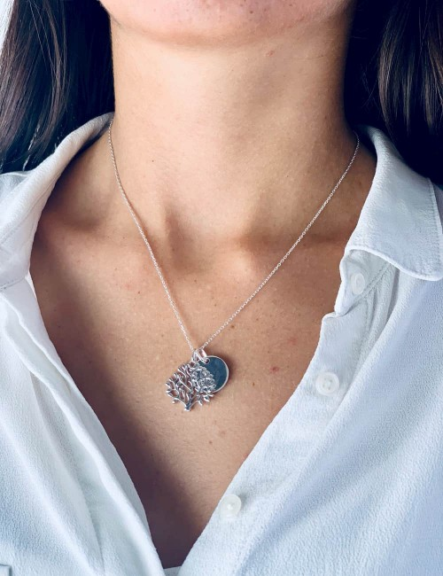 Necklace medal tree of life personalized woman 15mm