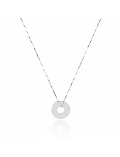 Necklace target silver to engrave woman 35 mm