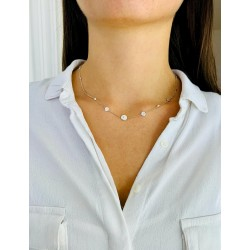 Personalized initial pastille silver necklace woman