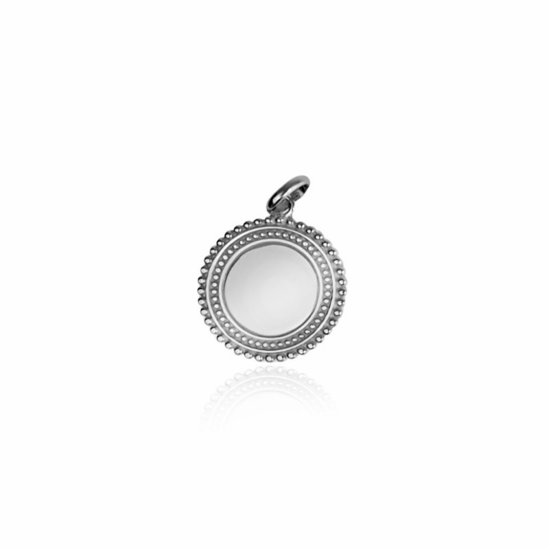 Bohemian silver medallion pendant customizable silver woman