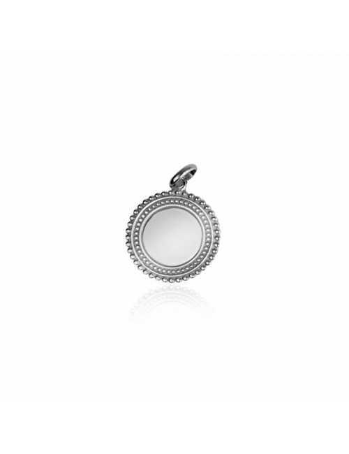 Bohemian silver medallion pendant customizable silver woman