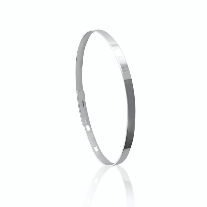 Bangle bracelet personalized silver man