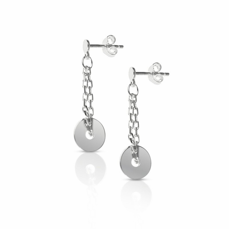 Hanging silver circle earrings woman