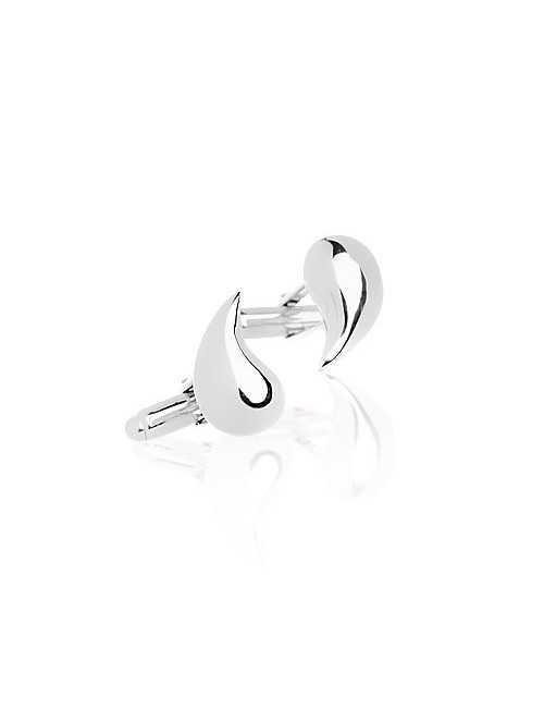 Silver drop cufflinks man
