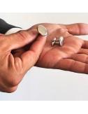 Cufflinks oval silver cufflinks personalized man